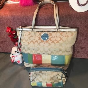 Authentic Coach tote bag with cosmetics pouch